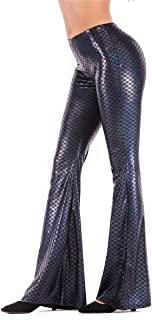 Women Shiny Slim Fit Bell Bottom Flare Pants Metallic Bootcut Palazzo Disco 70s Glam Yoga Fall Leggings