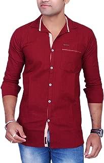 La Milano Men's Solid Shirt Maroon