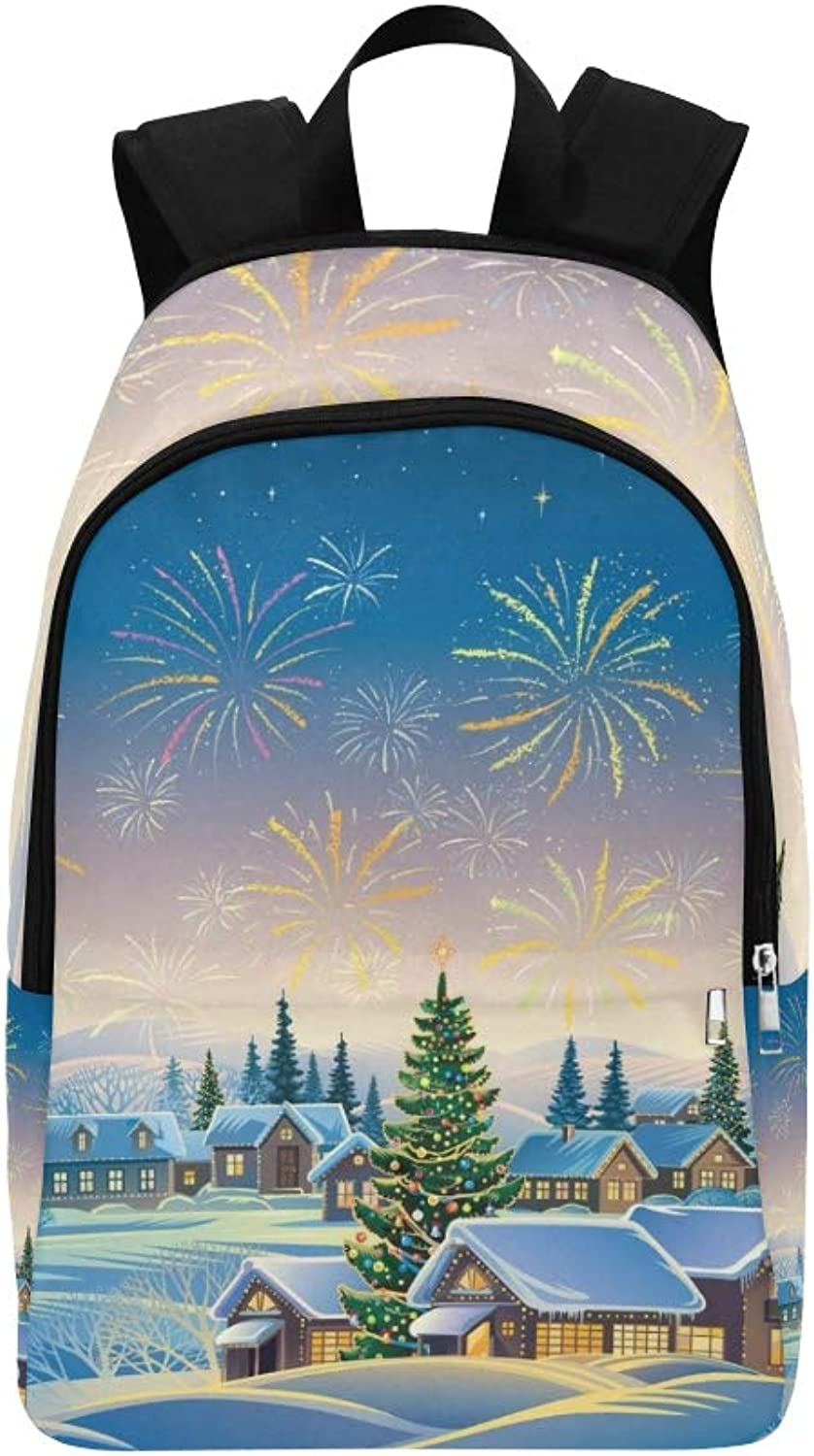 Festive Rural Landscape Winter Village Christmas Casual Daypack Travel Bag College School Backpack for Mens and Women