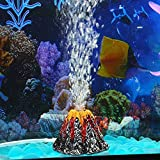 Panker Aquarium Volcano with Air Bubble Stone, Realistic Fish Tank Volcano Ornaments for More Oxygen Volcano Aquarium Landscape Decor, Great Addition to Fish Tank Beta Aquarium