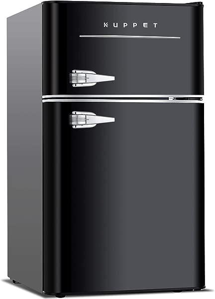 KUPPET Retro Mini Refrigerator 2 Door Compact Refrigerator For Dorm Garage Camper Basement Or Office 3 2 Cu Ft Black