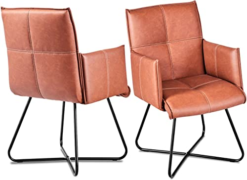 lowest Giantex 2Pcs Dining Chairs Leisure wholesale Accent Armchairs PU Leather Home Reception Chairs Guest Side Chairs outlet online sale w/Padded Seat Metal Crossed Legs, Tan sale