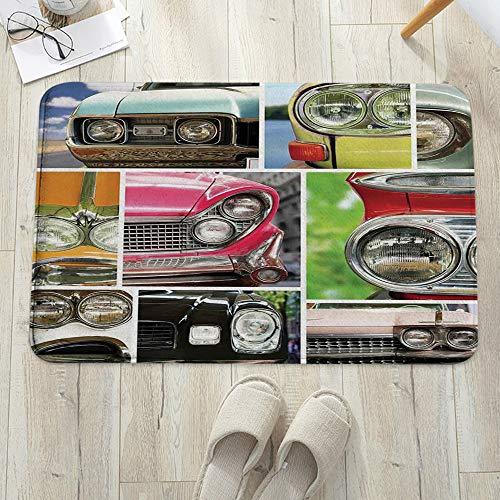 Alfombrilla de baño antideslizante, para baño o ducha,Decoración de los años 60, Vintage Car Speed Road Youth Esti, alfombra de suelo absorbente, para sala de estar, sofá, cojín, caucho, 60 x 100 cm