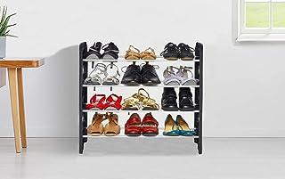 LookNSnap 4 Shelves Shoe Rack, 12 Pairs, Metal & Plastic (Small) (Black & Silver)