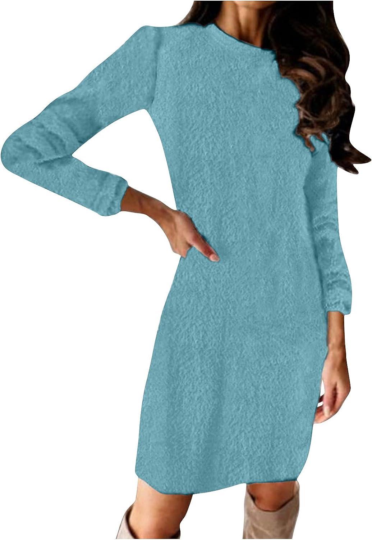 Womens Fleece Dress Elegant Round Neck Long Sleeve Dress Casual