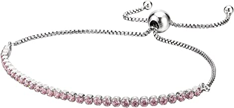 PANDORA Jewelry - Adjustable Pink Sparkling and Sparkling Slider Tennis Bracelet for Women in Sterling Silver with Pink Cubic Zirconia