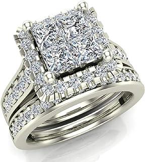 Princess Cut Quad Halo Wedding Ring Set 1.80 Carat Total Weight 14K Gold (J,I1)