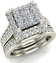 Princess Cut Wedding Rings Set for Women 14K Gold Quad Illusion 1.80 ct tw (J, I1)