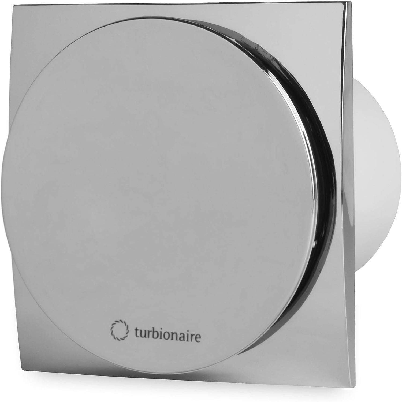 Turbionaire MIO 100 LL-SC Extractor de Baño 100 mm, cromado, temporizador, extracción, ventilación estándar, para baño, cocina, motor con rodamientos de bola, válvula de no retorno protección IPX4