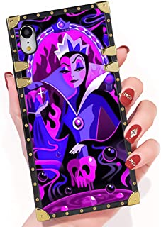 DISNEY COLLECTION iPhone Xr Case Evil Queen Snow White Art Square Phone Case Cover Soft TPU 360 Degree Luxury Shockproof Protective Case Compatible for iPhone Xr 6.1 Inch