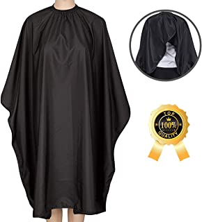 Barber Cape, Ymnenvxo Professional Hair Salon Cape with Adjustable Metal Clip, Waterproof Hair Cutting Cape for Barbers and Stylists - 55 x 63 inches Black