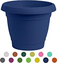 ALMI Carmel Round Planter 9 Inch, Plastic Rounded Pot For Garden, Elegant Shaped Flower Tree, Tapered Planters For Plants, Small Trees, UV Resistant Paint, Indoor & Outdoor, Blue