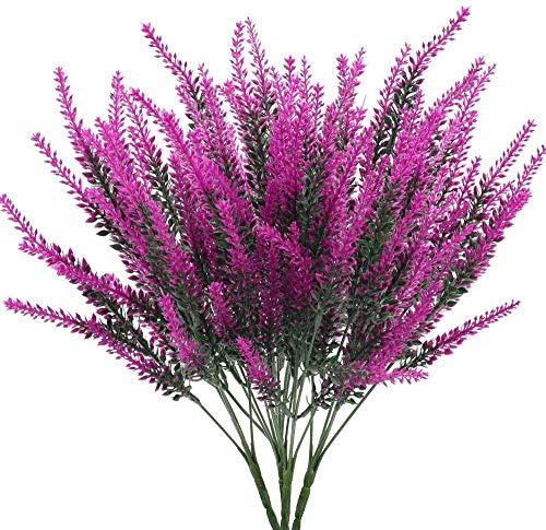 XHXSTORE 4 Pcs Künstliche Lavendel Blumen Lila Kunstblumen Kunstpflanzen Lavendel Plastik Pflanzen für Hochzeit Balkon Garten Zuhause Büro Party Blumenkasten Vase Dekoration