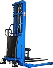 Semi-Electric Straddle Pallet Stacker 3300 lbs Capacity Forklift Trucks with Adjustable Fork, 118