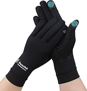 2 Pairs Pack Copper Compression Full Finger Arthritis Gloves for Relief Arthritis Pain,Copper Glove with Touch Screen Fingers for Everyday Support, Carpal Tunnel, Typing, Fit for Men & Women (Medium)