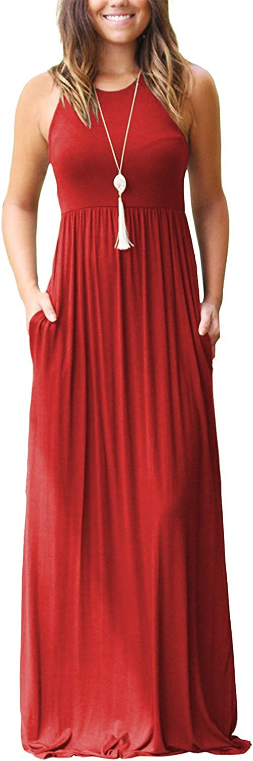 OURS Women's Casual 100% quality warranty Sleeveless Super special price Maxi Ma Loose Long Floral Dresses