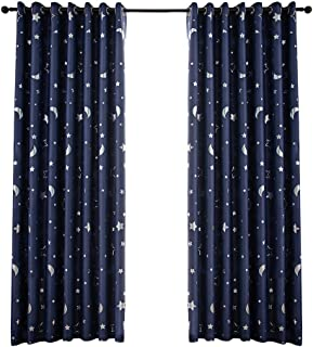 Vosarea Blackout Window Curtain Stars Moon Thermal Insulated Noise Reducing Grommet Top Window Treatment for Girls Room 10...