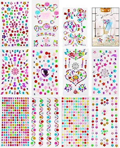 Aoligei 11 hojas Autoadhesivas de Diamantes de Imitación, Pegatinas de Diamantes, Brillantes Autoadhesivos, Placa de Piedras de Cristal Brillante para Niños DIY, Manualidad Decoración