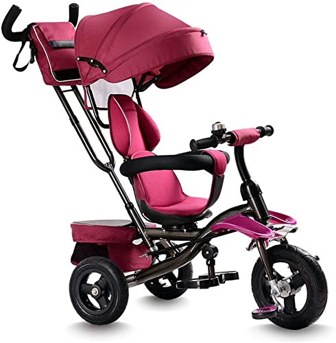 Yuany Tricycle, Tricycle 4 en 1 Multifonctions Facile à Plier avec siège pivotant, Design bi-directionnel, Tricycle d'extérieur pour bébé, 3 Couleurs, 110  105  50 cm (Couleur  Rouge)