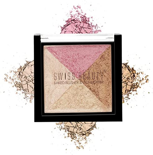 Swiss Beauty Baked Blusher & Highlighter, Face MakeUp, Multicolor-05, 7g
