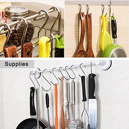 YourGift 10 Pack Heavy Duty S Hooks Black S Shaped Hooks Hanging Hangers Hooks for Kitchen, Bathroom, Bedroom and Office: Pan, Pot, Coat, Bag, Plants(10 Pack/S Hook/Black/2.4 inch)