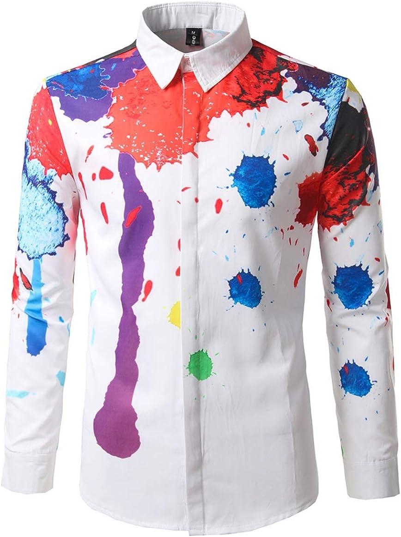Men's Shirts Fashion Casual Classic Slim Digital Prints Ink Personality Short Sleeve Joker Shirt