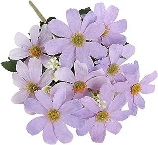 5 Branch 10 Heads Artificial Silk Fake Cosmos Flowers Wedding Floral Decor Bouquet, Artificial Daisy Bouquet - Light Purple