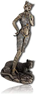 mySimpleProduct.Shop Bastet Ancient Egypt Egyptian Pharaoh Goddess Protectress Protector Warrior Defender of Cats Standing w/Panther Statue Figurine Sculpture + Certificate