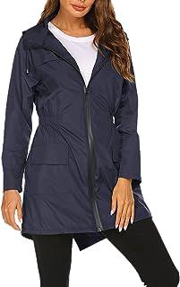WSLCN jaqueta longa feminina à prova d'água para uso ao ar livre, leve, à prova de vento, casual, esportivo, casaco
