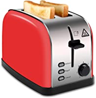 MADETEC 2 Slice Wide Slot Toaster Red, Stainless Steel Toaster with Removable Crumb Tray,High Lift Lever, Defrost,...
