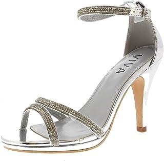 844cfb87 Viva Mujer Diamante Medio Talón Correa de Tobillo Boda Fiesta Metálico Sandalias  Zapatos