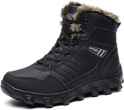 Bottes de neige pour hommes - Warm Warm Plus - Velours - Grandes chaussures en coton - épaisses - Imperméables - Antidérapantes - Haute - Bottes extérieures en coton ( Couleur   NOIR , taille   47 )