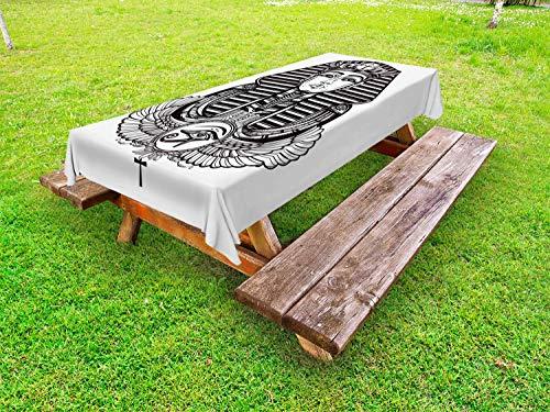 ABAKUHAUS ägyptisch Outdoor-Tischdecke, Vintage Pharao Tattoo, dekorative waschbare Picknick-Tischdecke, 145 x 210 cm, Schwarz und weiß