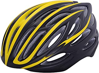 Crystalzhong-sp Mountain Bike One-Piece Riding Helmet Cycling Helmet Mountain Road Bicycle Equipment Helmet Integrated Riding Cap (5 Colors) (Color : Yellow, Size : One Size)