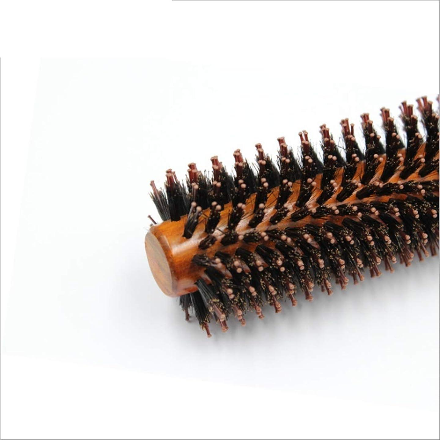 比較的ベアリングサークルありそうラウンドバレルヘアブラシ剛毛ヘアカーリング&ストレートくし乾燥、カーリング&矯正、パーフェクトボリューム&シャイン長26cm モデリングツール (サイズ : L)