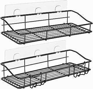ODesign 浴室用ラックフック付き強力粘着固定シャンプーバスルームバスラック風呂場洗面所収納壁掛け棚トレイラックステンレスブラック - 2個