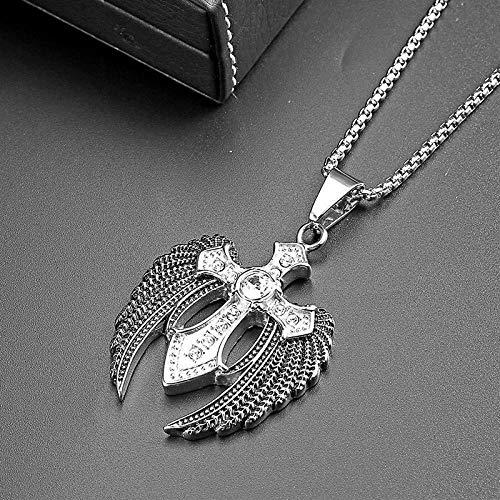 Y-Longhair Accesorios Personalizados, Collares, Joyas de Moda Hombres de Hip Hop Zircon del ala del ángel Cruz cristalino del Oro de Plata Pluma Colgante, Collar de Estilo Rock, Plata Collares