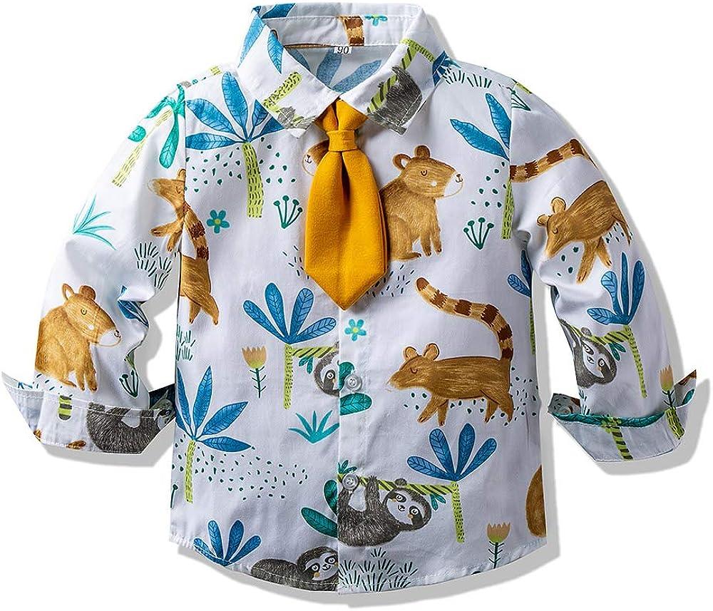 Baby Boys Girls Button Down Shirts Hawaiian Cartoon Print Slim-Fit Long Sleeve Cool Dress Shirt Cute Top for Kids: Clothing, Shoes & Jewelry