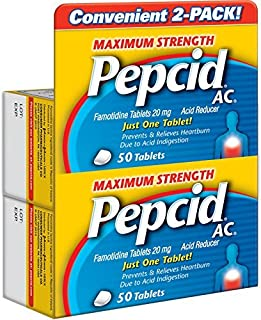 Pepcid AC Acid Reducer Maximum Strength Tablets, 2 Pack of 50 Count (100 Count Total)