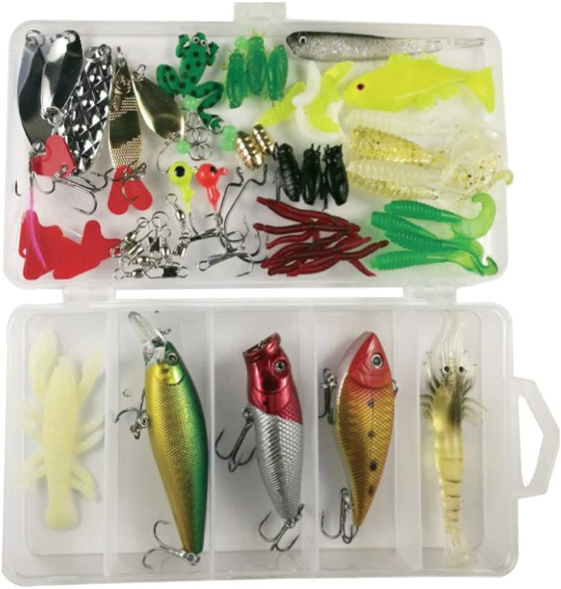 71Pcs Fishing Lures Kit Set for Bass,OYEL Fishing Lures Kit for Trout,Salmon,Including Spoon Lures,Soft Plastic Worms CrankBait,Jigs Fishing Lure Set with Free Tackle Box-Great Gifts for Christmas