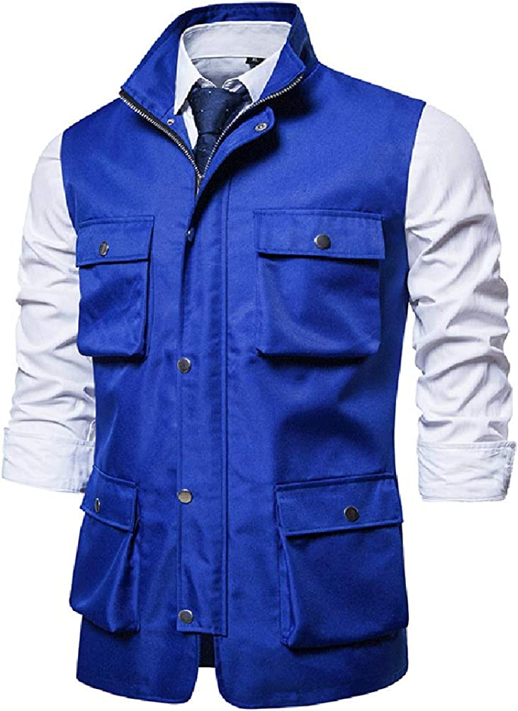 MMCICI Mens Work Utility Vest Military Multiple Pockets Travel Hunting Outdoor Workwear Sleeveless Jackets