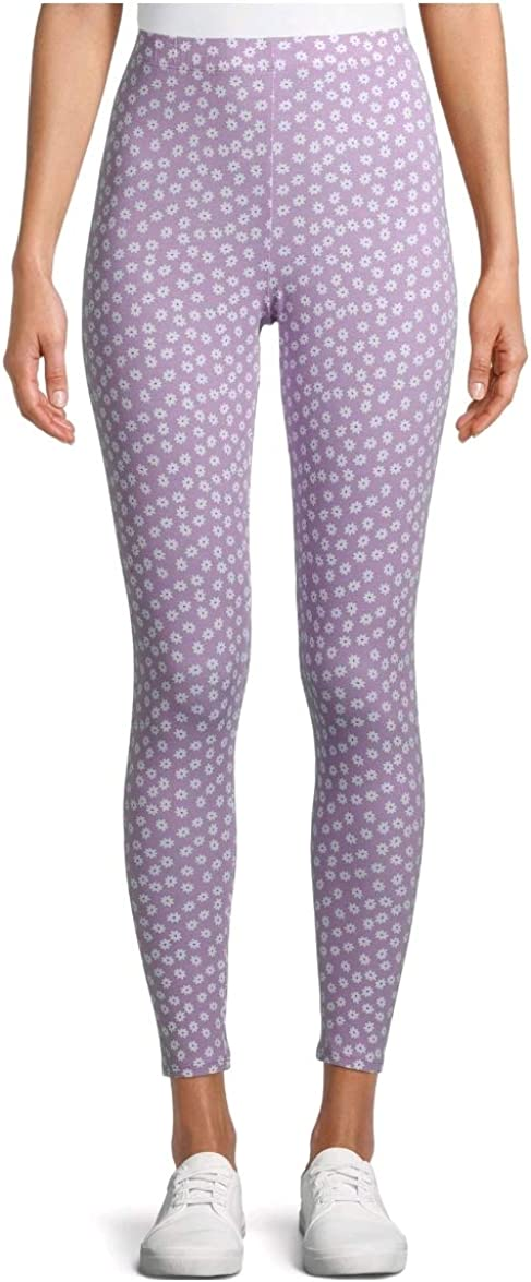 Daisy Print Purple Ankle Legging