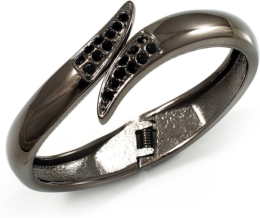Avalaya Gun Metal 'Modern Leaves' Hinged Bangle Bracelet