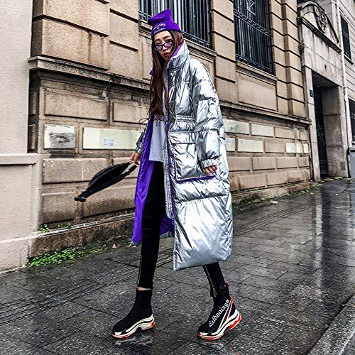 GDRFHJZ Damen Winter Schwarz Lose Daunenmantel Fashion Street Lange Wasserdicht Gepolsterte Winddichte Daunenjacke Frauen Silber Outwear