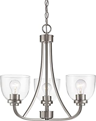"Chandeliers 3 Light Fixtures with Brushed Nickel Finish Steel Material Medium 21"" 300 Watts"