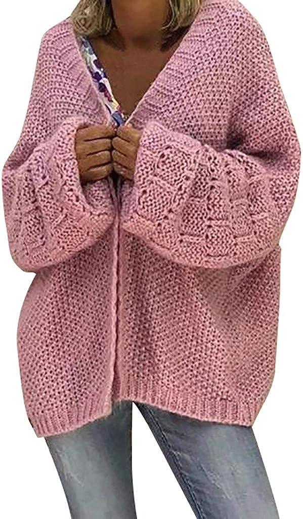 Vickyleb Fall Sweaters for Women Trendy Women Open Front Long Sleeve Chunky Knit Cardigan Sweaters Loose Outwear Coat