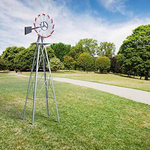 HAPPYGRILL Large 8ft Windmill Yard Garden Metal Ornamental Wind Mill for Garden Lawn Backyard, Grey