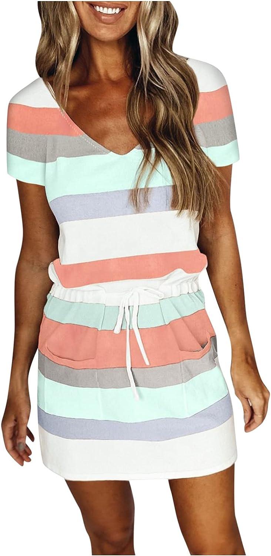 melupa Women Summer Casual Dresses Beach Spaghetti Strap V-Neck Mini Dress Sleeveless Party Stripe Sundress with Belt Pocket