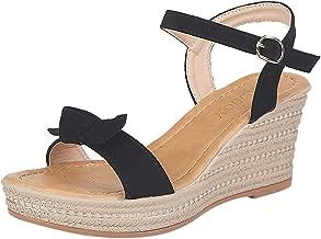 ZOMUSAR 2019 Shoes, Women Sandals Wedges Shoes Fashion Weaving Thick Bottom Belt Buckle Roman Sandal