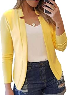 Women's Long Sleeve Stand Collar Open-Front Casual Blazer Jacket